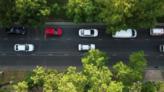 Thumbnail for Top Down City Road View of Freeway Busy City Rush Hour Heavy Traffic Jam Highway