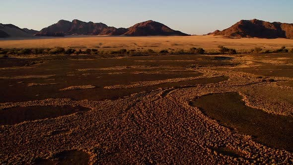 Flying over the desert in Namibia in a hot air balloon