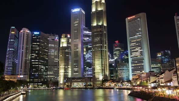 Thumbnail for Singapore Financial and Business District in Downtown River View Time Lapse
