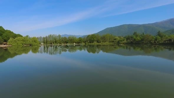 Thumbnail for Lake Among Mountains, Outdoor Recreation Away From Civilization, Aerial View