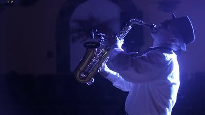 Musician Playing Alto Saxophone on a Gig Playing the Saxophone