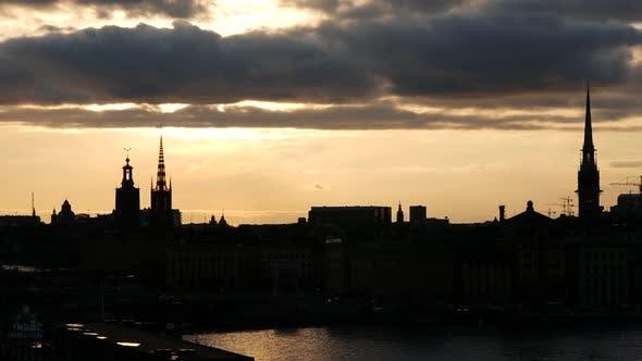 Thumbnail for Sunset time lapse Stockholm skyline