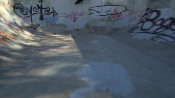 Thumbnail for A young skateboarder skating in the bowl of a skate park.
