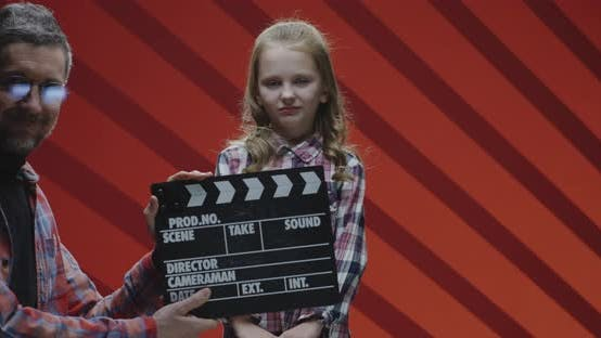 Thumbnail for Child Actress Acting Last Scene During Film Shooting