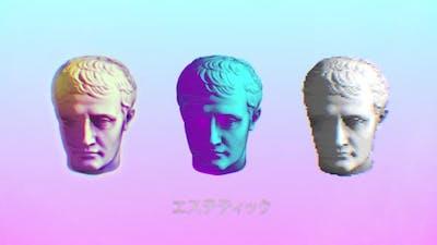 Vaporwave Statue Heads Background Loop