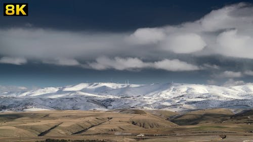 First Snow of the Winter on Arid Treeless Hills