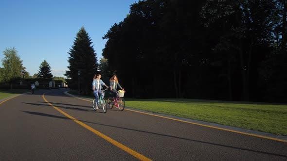Thumbnail for Joyful Lesbian Couple Riding Bikes on Park Road