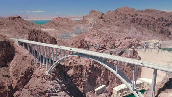 Thumbnail for Hoover Dam and a Bridge Across the Colorado River at the Nevada and Arizona Border. Aerial View.
