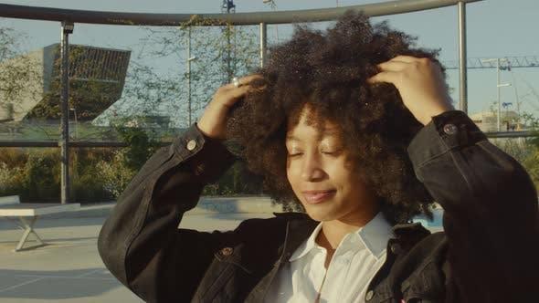 Portrait of Mixed Race Black Women in the Park Having Fun