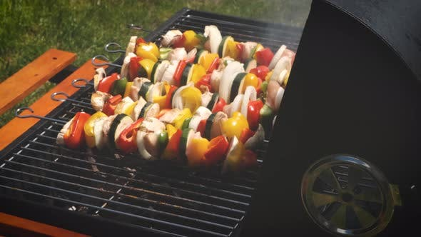 Cover Image for Colorful and Tasty Grilled Shashliks on Outdoor Summer Barbecue