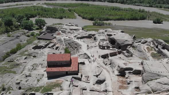 Amazing aerial view of ancient town Uplistsikhe in Georgia