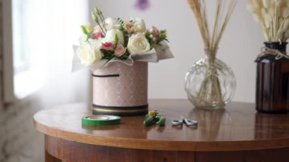 Florist's Workplace with Tools and Materials on It, Close-up