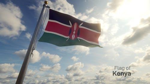 Kenya Flag on a Flagpole