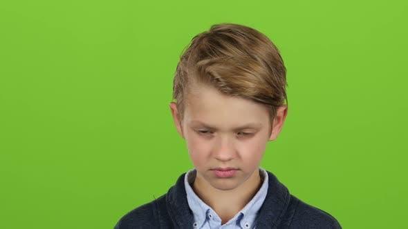 Boy Looks Straight Ahead. Green Screen