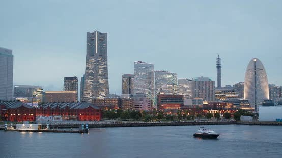 Thumbnail for Yokohama city bay at sunset