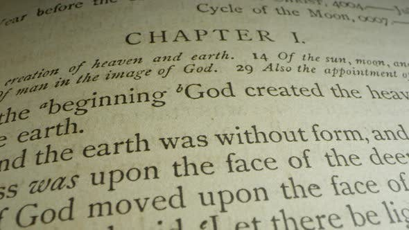 Thumbnail for Book of Genesis Chapter 1:1 creation verse, and Old Testament Bible leather cover