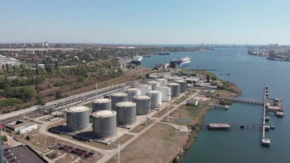Thumbnail for Big metal containers for grain, fuel and oil in Black Sea port, Cargo delivery