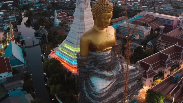 Thumbnail for Aerial View of Wat Paknam Bhasicharoen, a Temple, Pagoda and Buddha Statue in Bangkok Thailand