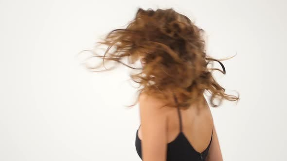 Thumbnail for Sexy Girl Isolated on a White Background. Hot Brunette. Slow Motion.