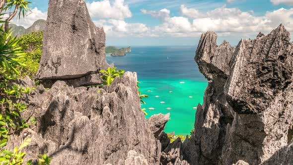 Cover Image for Tropical Nature of Beautiful Rocks Limestone Cliffs and Azure Sea in El Nido, Palawan Island