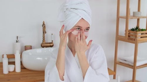 Skin Care After Bath Cosmetics at Home Caucasian Woman Anti Aging