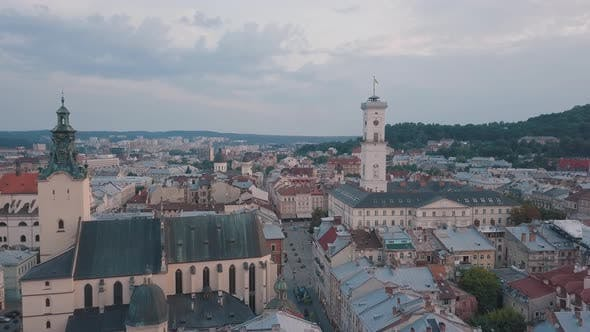 Thumbnail for Aerial City Lviv, Ukraine. European City. Popular Areas of the City. Town Hall