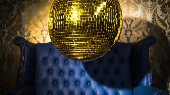 Thumbnail for Gold Blue Chesterfield Leather Chair Discoball Party Disco