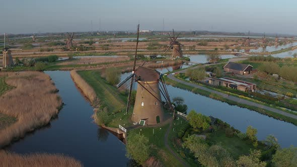 Thumbnail for Aerial View of Windmills in the Kinderdijk Area During Sunset. Spring in Holland
