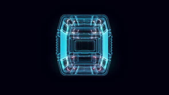 Sci Fi Military Container Hologram Rotating Hd