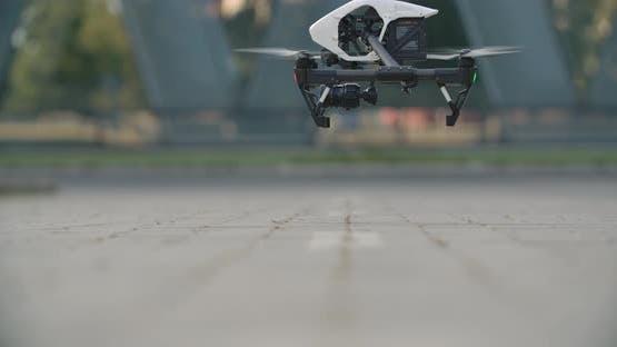 White Professional Drone Landing