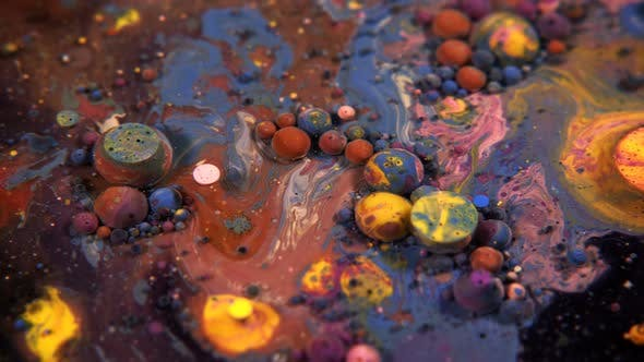 Abstract Colorful Acrylic And Food Paint Bubbles On Water