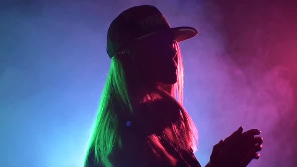 Thumbnail for Beautiful, Sexy Dj Girl in Cap, Headphones Playing Music and Dancing, Claps, Smoke, Silhouette, Slow