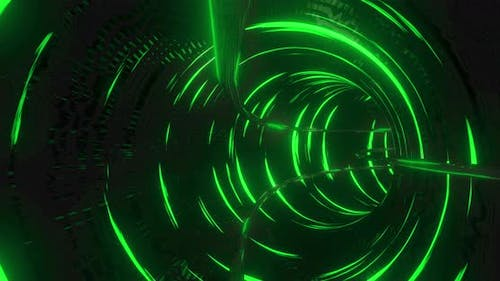 Tunnel with green lights moving in a seamless loop