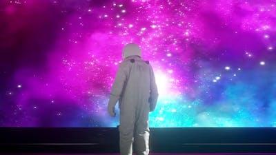 Alone astronaut in futuristic space corridor, room
