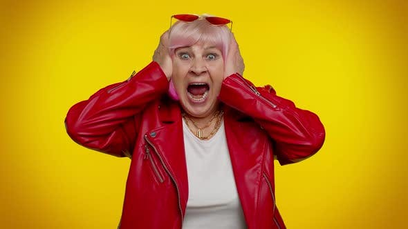 Elderly Stylish Granny Woman Scared Fearful Covering Ears Meeting Her Own Phobia Screaming Shouting