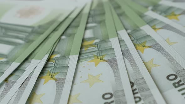 Thumbnail for European Union Euros drop on table  close-up 4K 2160p 30fps UltraHD footage - Counting banknotes of