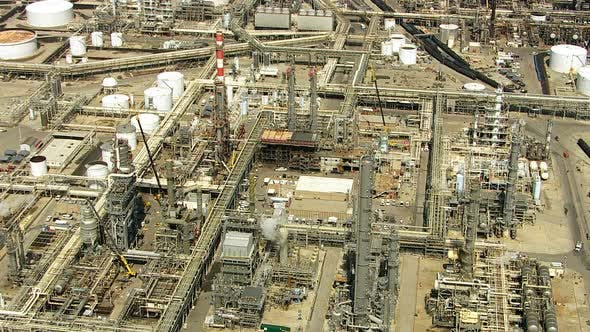 Thumbnail for Aerial shot of off oil refinery, Southern California