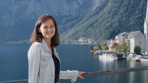 Woman Posing for the Camera in Hallstatt