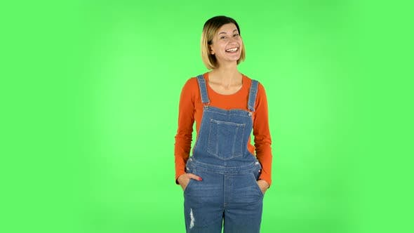 Thumbnail for Lovely Girl Smiles Broadly and Winks. Green Screen