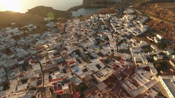 Thumbnail for Birds Eye View of Houses in Lindos, Rhodes and a Road on the Side
