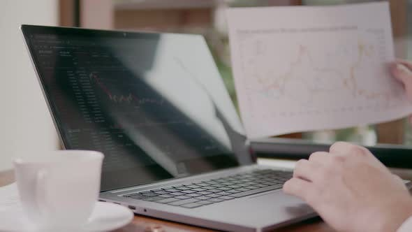Trader Compares Charts on the Stock Exchange