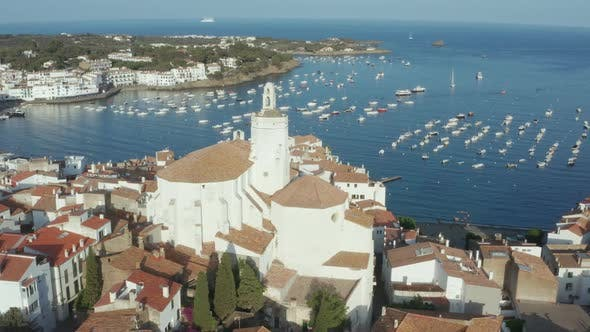 Thumbnail for Aerial Shot of Ancient Church in Cadaques Town