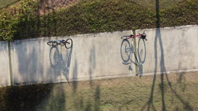 Shadow of bicycle in day