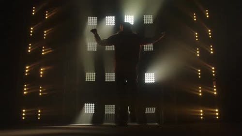 Silhouette of Male Man Dancer Is Dancing Hip Hop. Urban Break Dancer. Culture of Modern Dance. A