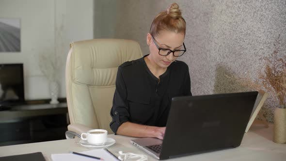 Thumbnail for Businesswoman Working on Laptop