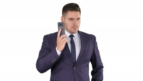 Thumbnail for Serious Worried Businessman Trying To Call Someone and Can't Get Through Call Failed on White