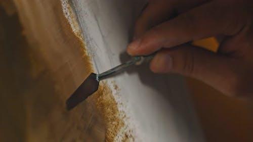 Zeichnen mit Spachtel und Ölfarben
