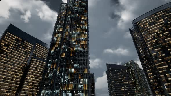 Thumbnail for Glass Skyscrpaer Office Buildings with Dark Sky