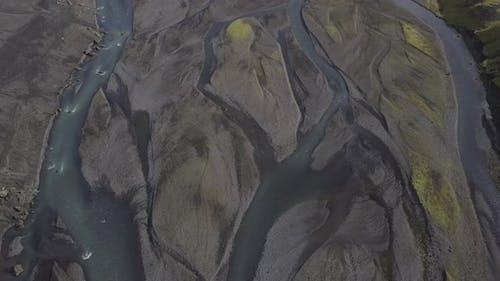 Aerial view of braided rivers near the Thórsmörk mountain range.