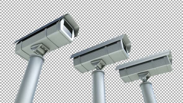 3 Security Cameras Alpha Channel